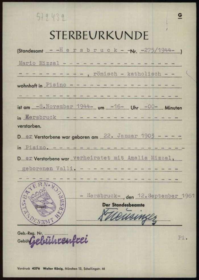 Certificato di morte stilato il 12 settembre 1961