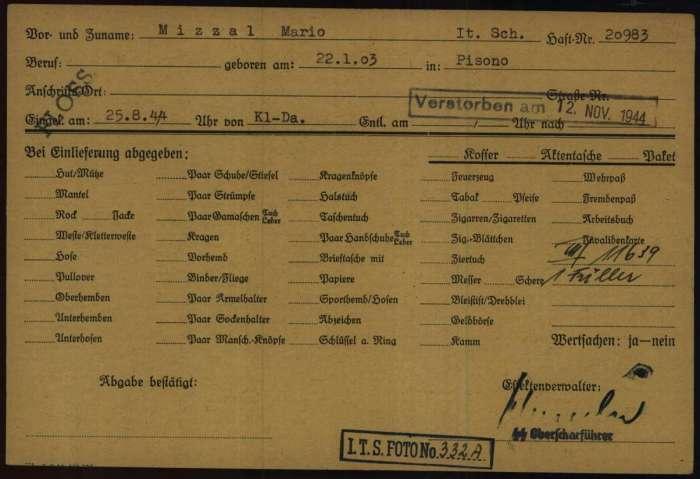 Documento registrazione Flossenburg