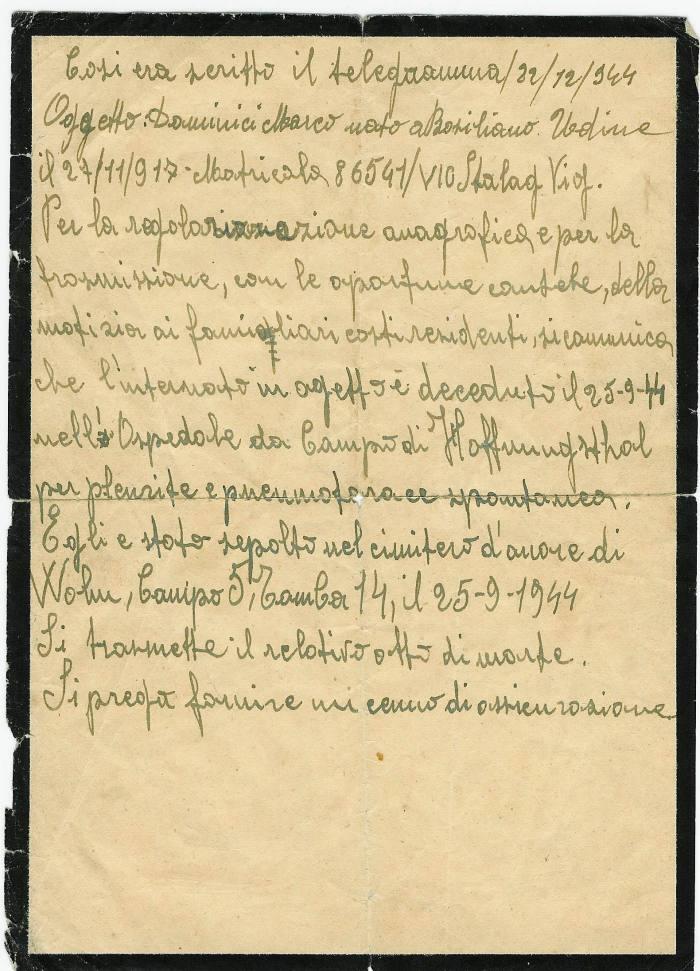 Dominici Marco testo telegramma