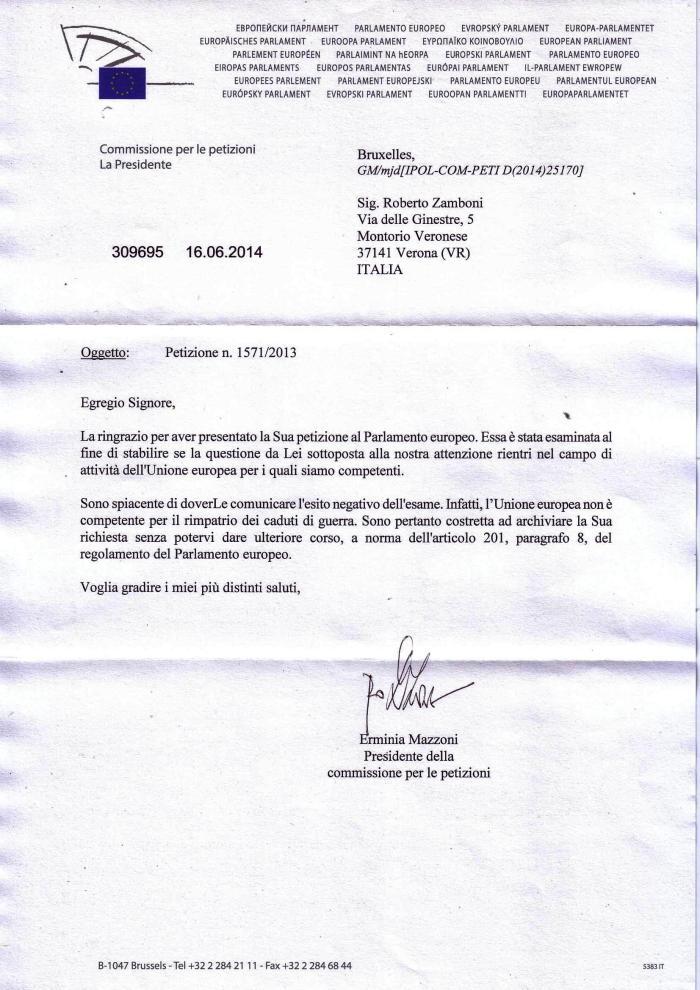 risposta commissione europea