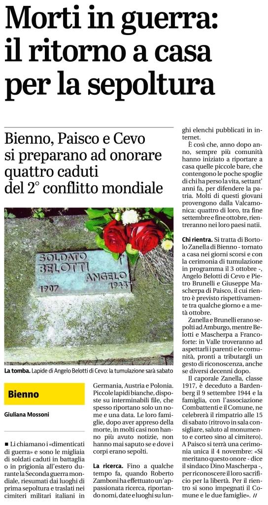 Articolo del Giornale di Brescia / Valcamonica del 28 settembre 2015