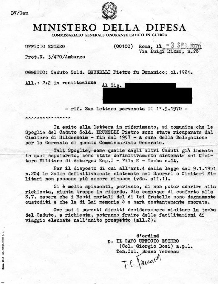 Richiesta di rimpatrio di Brunelli fatta negli anni '70