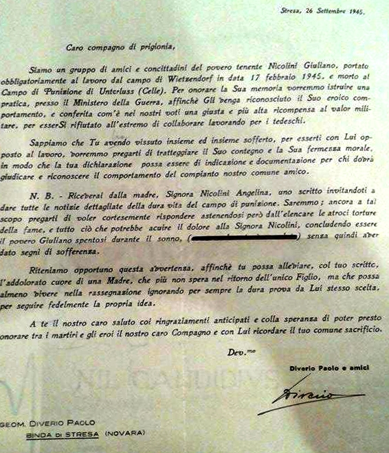 lettera Paolino Diverio