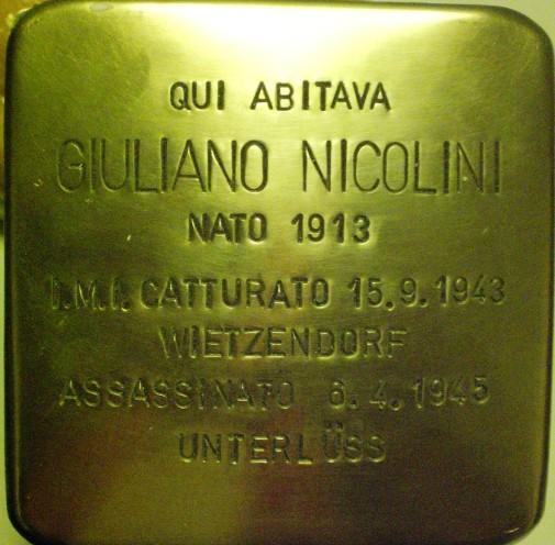Pietra d'inciampo Giuliano Nicolini