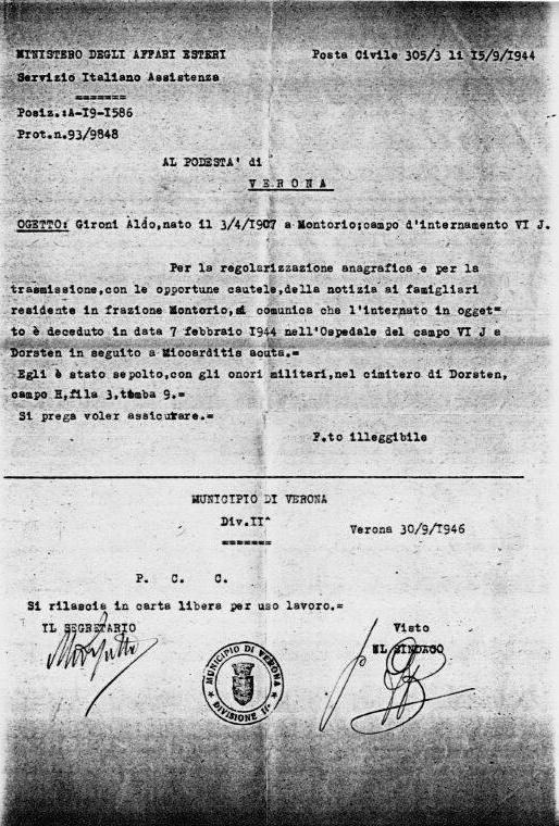 Comunicazione morte Aldo Gironi
