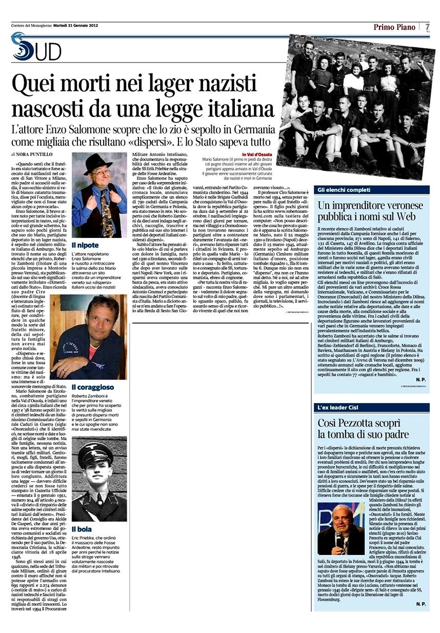 corriere del mezzogiorno napoli 31.1.2012