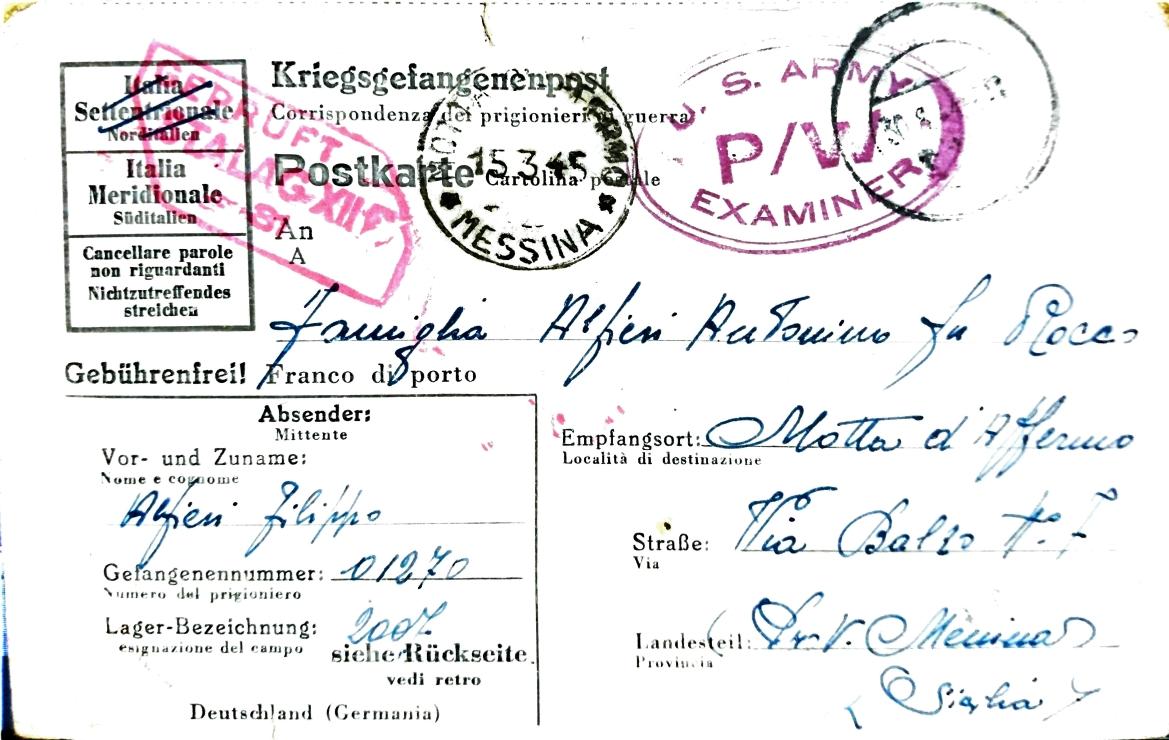 Cartolina dal campo di prigionia